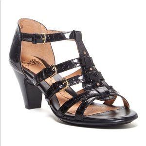 Söfft NARROW Solana Black Croco t-strap heels
